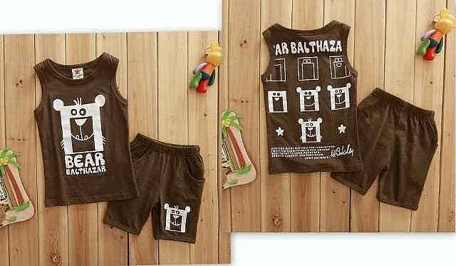S17019 Setelan Koala Bebe Bear Brown
